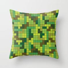 Tetris Camouflage Forest Throw Pillow