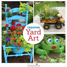 DIY Yard Art and Garden Ideas! Creative ways to add color and joy to a garden, porch, or yard. Repurposed bikes, toys, tires and other fun junk.