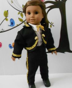 Mariachi charro suit traje black gabardine with gold trim for American Girl doll 18 in handmade custom order Charro Suit, Boys Suits, Ready To Play, Boy Doll, Line Jackets, American Girl, Dolls, Cotton, Etsy