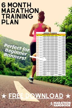 Here's our free 6 month marathon training plan - perfect for beginners looking to run a full marathon! Includes a free marathon training guide by a UESCA-certified running coach! Marathon Training Plan Beginner, Running Guide, Marathon Tips, Running For Beginners, Berlin Marathon, New York Marathon, Chicago Marathon, City Marathon, Marathon Motivation