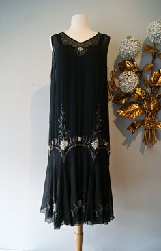 Vintage 1920's Beaded Chiffon Dress