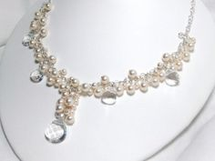 Ivory Cluster Bridal Necklace, Pearl, Crystal Briolette Pendant, Bridal Jewelry, Anne Marie Necklace N232B09