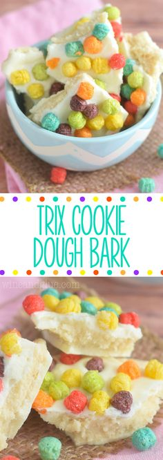 This Trix Cookie Dough Bark is your inner child's dream come true! Eggless sugar cookie dough inside chocolate and topped with fruity Trix! Food Network Sugar Cookie Recipe, Eggless Sugar Cookie Recipe, Sugar Cookie Dough, Food Network Recipes, Cookie Recipes, Snack Recipes, Dessert Recipes, Snacks, Great Desserts