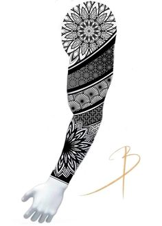Geometric Tattoo Sleeve Designs, Geometric Mandala Tattoo, Mandala Tattoo Design, Tiger Tattoo Sleeve, Sleeve Tattoos, Cool Forearm Tattoos, Leg Tattoos, Mangas Tattoo, Band Tattoo Designs