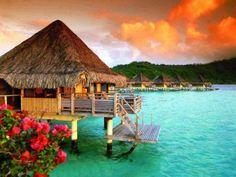 Over water bungalow in Bora Bora
