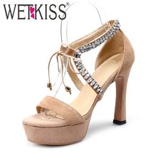(42.98$)  Buy here  - WETKISS Size 34-44 Sexy Rhinestone Lace Up Shoes Woman Elegant High Heels Platform Summer Women Sandals Fashion Suede Sandals