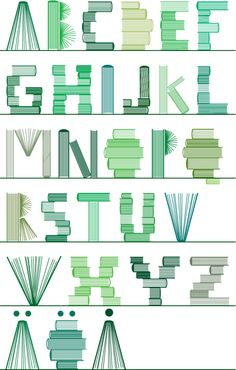 Book Club III typography, 2006 © Byggstudio (Sweden & Norway). Green graphic book font .. KEEP attribution & links when repinning or posting to other social media (ie blogs, twitter, tumblr etc). Don't pin the image & erase the artist. Give credit where due. See: http://pinterest.com/picturebooklove/how-to-pin-responsibly/  -pfb