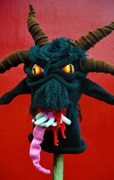 Gruß vom Krampus, yarn, glass beads, 2011 (commissioned) - Brutal Knitting by Tracy Widdess