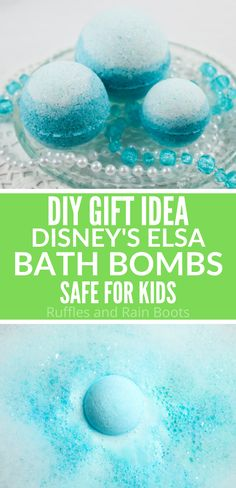 These Disney Queen Elsa bath bombs are too pretty! I love how simple these Frozen bath bombs are! Click here to see how she made these ombre bath bombs fun for all ages. #disneybathbombs #DIYbathbombs  #disneyprincess #DIYbath #rufflesandrainboots