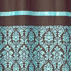 DESIGNS BELLA BLUE TURQUOISE BROWN DAMASK GIRL TEEN SHOWER CURTAIN