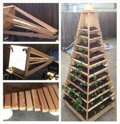 20+ Creative DIY Vertical Gardens For Your Home --> Vertical Pyramid Tower Garden Planter