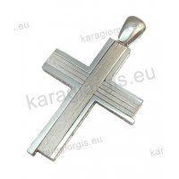 Βαπτιστικός σταυρός Κ14 για αγόρι λευκόχρυσο με ένθετο διπλό σταυρό μέσα σε ματ φινίρισμα