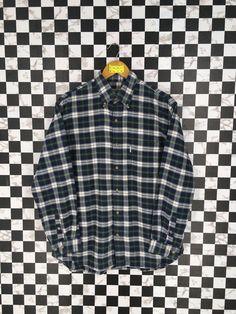 faf71e538 Vintage Checkered Green Flannel Shirt Large 90's Plaid Checkered Tartan  Multicolor Grunge Hipster Boyfriend Shirt Buttondown Oxford Size L
