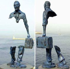 An amazing piece of sculpture by the artist Frances Bruno Catalano, which symbolizes the vacuum created by being forced to leave your land, your life, your people... for any reason.