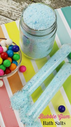 Treat yourself to a DIY Bubble Gum Bath Salts - perfect as gifts for your friends and family