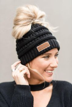 c944e8b31f6 Messy Bun Beanie Hat - Black Cute Beanies