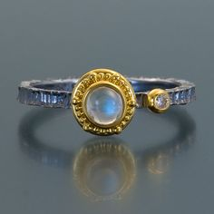 moonstone oxidized sterling silver 22kt yellow gold