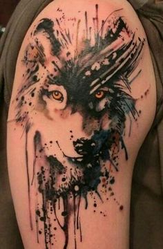 Watercolor wolf tattoo-this is incredible!! I would put this on my upper arm..