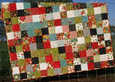 Jovial Christmas Quilt Modern Red Black.