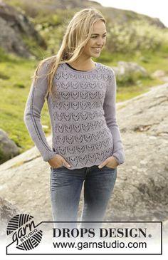 """Gebreide DROPS trui in ribbelst met kantpatroon van """"BabyAlpaca Silk"""". Maat: S - XXXL. Gratis patronen van DROPS Design. 172-13"""