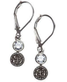 Judith Jack Earrings, Marcasite and Crystal Double Drop