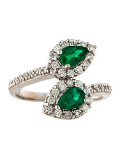 Emerald and Diamond Bypass Ring