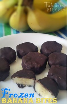 "Frozen Banana Bites | FabuLESSly Frugal.  ""These are easy to make!  The banana is creamy when frozen so it tastes like ice cream!"" Plus you can top them with tasty treats from WinCo Bulk Foods =)"