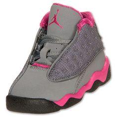 Girls' Toddler Air Jordan Retro 13 Basketball Shoes  FinishLine.com   Cool Grey/Pink/White