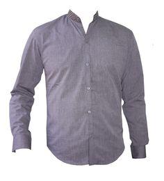 Chemise homme cintrée col mao. Chemise manches longues grise en coton avec  une finition coton 7b3d82ee4b7