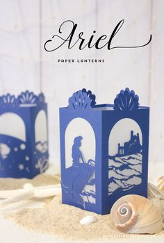 """Ariel Paper Lantern - Designs By Miss Mandee. Make these lovely lanterns """"part of your world:"""" put them together for your next Disney-themed party. Download the pdf and svg cut files for FREE! Love the way the water looks!!"""