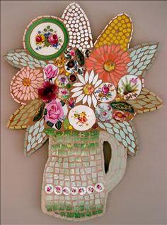 Green jug of flowers ~ Original piece by mosaic artist Rah Rivers