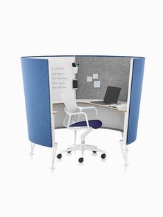 A Keyn desk chair with white frame and dark blue upholstered seat pad in a Prospect Solo Space with blue exterior acoustic fabric. Herman Miller, Blue Seat Pads, Acoustic Fabric, Learning Spaces, Creativity And Innovation, Create Space, Home And Living, Living Spaces, Interior