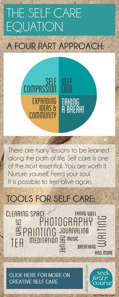 What's your equation for self care? Get more resources for creative self care here: http://seekyourcourse.com/blog/resources-for-self-care/ #selfcare #infographic