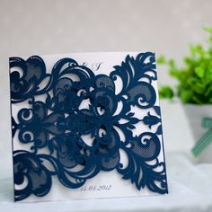 elegant navy blue laser cut wedding invitations EWWS032