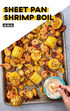 Sheet Pan Shrimp Boil Sheet Pan Shrimp Boil This Sheet Pan Shrimp Boil Recipe From Delish Com Has All The Classic Flavors You Love Without All The Mess Bring New Orleans Cajun Flair To Your Kitchen Shrimp Boil Corn Sheetpan Oven Easy Oldbay Delish Seafood Boil Recipes, Fish Recipes, Cajun Shrimp Recipes, Recipies, Donut Recipes, Shrimp Dishes, Fish Dishes, Main Dishes, Shrimp Boil In Oven
