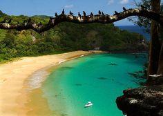 Fernando de Noronha.  Praia mais bonita do Brasil: A Praia do Sancho, por muitos é considerada a mais bonita do Brasil. Ainda é curioso descer a famosa escadinha entre as pedras que dá acesso a praia.
