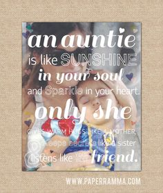 Aunt Gift, An Auntie is Like Sunshine, A special art print featuring your photo , Archival Giclée Art Print // Brother Birthday Quotes, Little Boy Quotes, Brother Sister Quotes, Mom Quotes From Daughter, Daughter Poems, Mothers Day Quotes, Auntie Quotes, Nephew Quotes, I Love My Niece