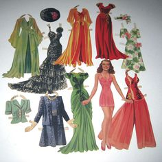 Vintage 1940s Rita Hayworth Movie Star Paper Dolls with Outfits. $9.95, via Etsy.