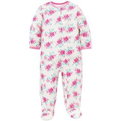 Little Me Baby Girls Floral Zip Footie Pajamas Footed Sleeper White Pink 18M