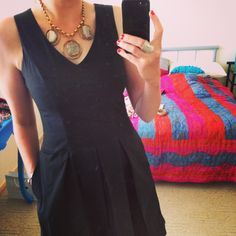 Teacher outfits simple black dress, statement chunky agate necklace