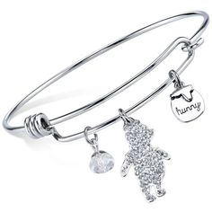 Disney Winnie the Pooh Crystal Charm Bangle Bracelet in Sterling... ($58) ❤ liked on Polyvore featuring jewelry, bracelets, silver, crystal stone jewelry, charm bangle, crystal jewellery, stainless steel jewelry and bangle charm bracelet