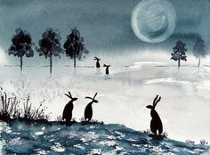 Original Watercolour Painting - HARES IN THE MOONLIT MEADOW | eBay