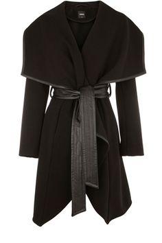 Oasis Black Faux Leather Trim Belted Drape Coat