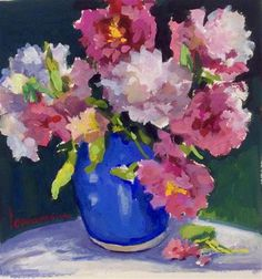 """Daily Paintworks - """"Passion for Peonies"""" - Original Fine Art for Sale - © Laurie Johnson Lepkowska Gouache Painting, Fun At Work, Fine Art Gallery, Art For Sale, Peonies, Beautiful Flowers, Artist, Artwork, Passion"""