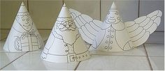 Holiday Cone Friends - Printable Ornaments - Christmas Holiday Arts and Crafts - December - KinderArt