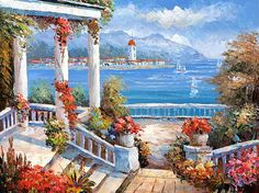 Original Oil Painting Ocean Sailing modern palette knife impressionism oil on canvas fine art. g022