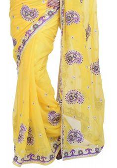 #Lemon Yellow #Chiffon #Embroidered Party #Saree Sku Code: 428-6019SA467719 US $81.00  http://www.sareez.com/lemon-yellow-chiffon-embroidered-party-saree-72683.html