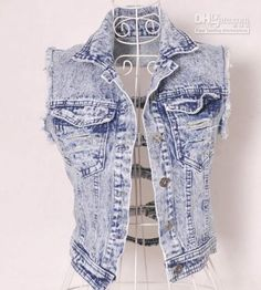 New Retro Cowboy Hollow Womens Denim Vest Ladies Chic Jean ...