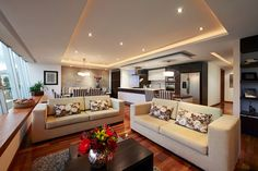 Modern Living Room with Cove Lighting Cove Lighting Ceiling, Recessed Can Lights, Living Room Modern, Living Rooms, Commercial Design, Ceiling Design, Home Projects, Lighting Design, House Design