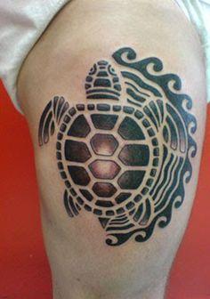 Polynesian style turtle tattoo